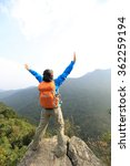 cheering young woman hiker open ...   Shutterstock . vector #362259194