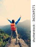 cheering young woman hiker open ... | Shutterstock . vector #362269271