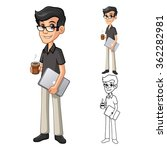 geek man with glasses holding a ... | Shutterstock .eps vector #362282981