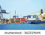 port cargo crane  container and ... | Shutterstock . vector #362319644