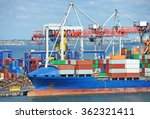 container stack and ship under... | Shutterstock . vector #362321411