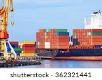 container stack and ship under...   Shutterstock . vector #362321441