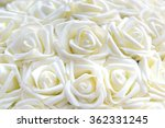 White Roses Made Of Fabric In...