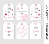 set of cute cards for valentine'... | Shutterstock .eps vector #362351774