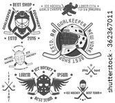 set of vintage ice hockey... | Shutterstock .eps vector #362367011