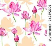 lotus watercolor seamless...   Shutterstock . vector #362392301