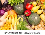 colorful fruits and vegetables... | Shutterstock . vector #362394101