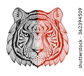 patterned tiger head one side... | Shutterstock .eps vector #362394509