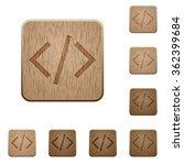 set of carved wooden...