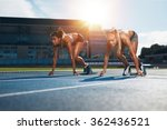two female athletes at starting ... | Shutterstock . vector #362436521
