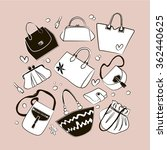 set of different bags  clutches ... | Shutterstock .eps vector #362440625
