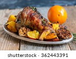 Dish With Roasted Turkey Thigh...
