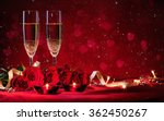 Stock photo valentines day background with champagne glasses and red roses 362450267