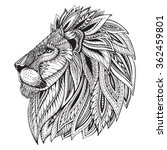 Stock vector ethnic patterned ornate hand drawn head of lion black and white doodle vector illustration sketch 362459801