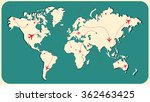 air travel paths on a world map ... | Shutterstock .eps vector #362463425