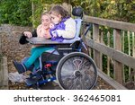 disabled child in a wheelchair... | Shutterstock . vector #362465081