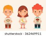 cute cartoon kids holding... | Shutterstock .eps vector #362469911