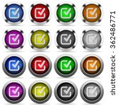 set of checkmark glossy web...
