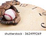 a baseball and mitt on an old...   Shutterstock . vector #362499269