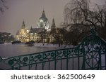 Stock photo hannover germany january rathaus hannover in winter at evening 362500649