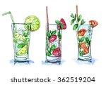 hand drawn set of watercolor... | Shutterstock . vector #362519204