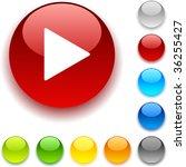 play shiny button. vector...   Shutterstock .eps vector #36255427