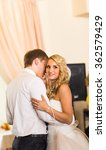 happy bride and groom on their  ... | Shutterstock . vector #362579429