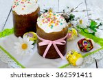 Easter Cakes And Colored Eggs...