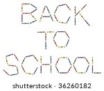 Colored crayons and the words back to school. Isolated on white background - stock vector