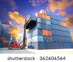 forklift handling the container ...   Shutterstock . vector #362606564