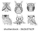 Cartoon Colorless Forest Owls...