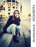 beautiful girl in urban city.... | Shutterstock . vector #362638391