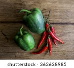 green pepper and red chili... | Shutterstock . vector #362638985