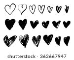 Stock vector vector doodle hand drawn grunge black hearts set 362667947