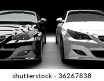 Stock photo a black and a white limousine isolated 36267838
