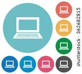 flat laptop icon set on round...