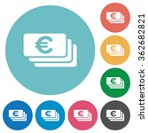 flat euro banknotes icon set on ...