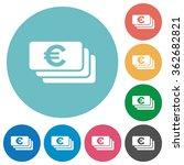 flat euro banknotes icon set on ...