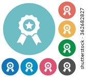 flat award icon set on round...