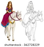 cartoon medieval woman on a... | Shutterstock . vector #362728229