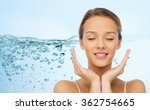 smiling young woman face and...   Shutterstock . vector #362754665