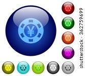 set of color yen casino chip...