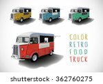Set Of Color Retro Food Trucks...