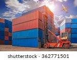 forklift handling container box ...   Shutterstock . vector #362771501