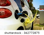 electric car pluged on the... | Shutterstock . vector #362772875