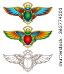 egyptian scarab colorful vector ... | Shutterstock .eps vector #362774201