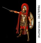 Spartan warrior in armor with sword - antiquity unauthorized wooden sculpture - stock photo