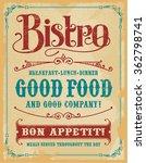bistro poster sign  vintage... | Shutterstock .eps vector #362798741