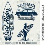 surf typography set   t shirt... | Shutterstock .eps vector #362803115