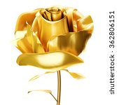 Golden Rose 3d Isolated On...